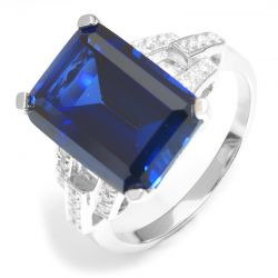 Luxury Emerald Cut 9.6ct Created Blue Sapphire Cocktail Ring Genuine 925 Sterling Silver Ring