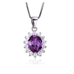 Diana William Kate Middleton's 3.2ct Created Alexandrite Sapphire Pendant 925 Sterling Silver Jewelry