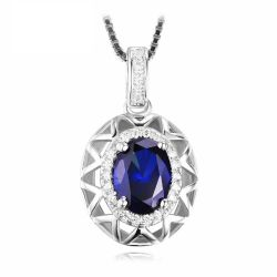 1.5ct Created Blue Sapphire Pendant 925 Sterling Silver