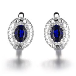 2.4ct Created Blue Sapphire Clip On Earrings 925 Sterling Silver Fine Jewelry