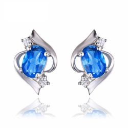 1.00ct Oval Cut Natural London Blue Topaz Earring 925 Sterling Silver Fine Jewelry