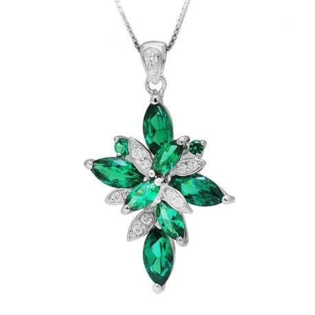 Flower Shape 2.6ct Created Green Nano Russian Emerald 925 Sterling Silver Pendant