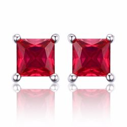 Square 0.8ct Created Red Ruby 925 Sterling Silver Stud Earrings