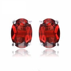 Oval 2ct Natural Red Garnet Birthstone Stud Earrings Solid 925 Sterling Silver Jewelry