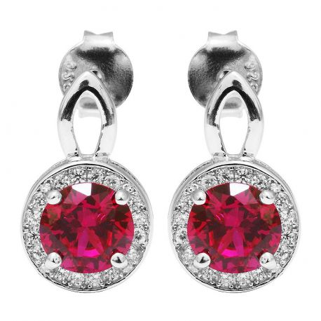 2.5ct Round Pigeon Blood Red Ruby Stud Earring For Women Genuine 925 Sterling Silver