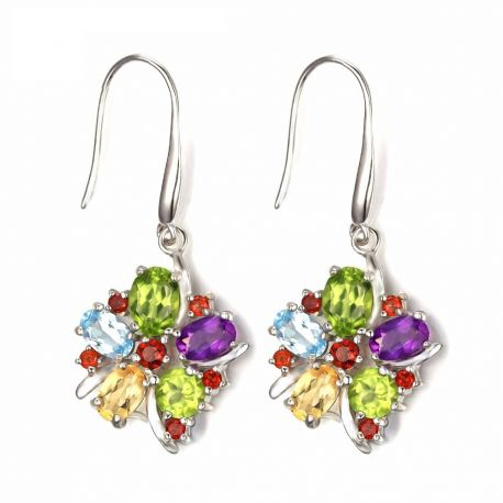 Flower 6.2ct Natural Amethyst Garnet Peridot Citrine Blue Topaz Dangle Earrings