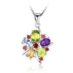 Flower 3.1ct Natural Amethyst Garnet Peridot Citrine Blue Topaz Solid 925 Sterling Silver Pendant