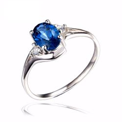 Natural London Blue Topaz Engagement Ring Genuine 925 Sterling Silver