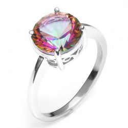 3ct Genuine Rainbow Fire Mystic Topaz Exquisite Ring For Women Solid 925 Sterling Silver