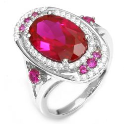 19.5ct Luxury Shiny Bohemia Style Women Red Ruby Ring Genuine 925 Sterling Silver