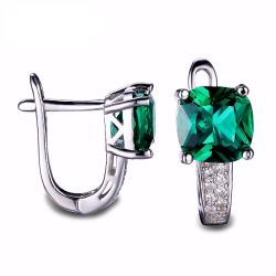 Cushion 3.1ct Created Green Russian Nano Emerald Clip On Earrings 925 Sterling Silver Fine Jewelry