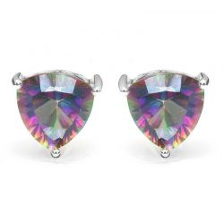 Triangle 6.5ct Genuine Rainbow Fire Mystic Topaz Solid Pure 925 Sterling Silver Stud Earrings