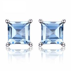 Square Cut 0.7ct Natural Sky Blue Topaz Solid 925 Sterling Silver Stud Earrings