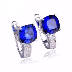 Cushion 4.6ct Created Blue Sapphire Clip On Earrings 925 Sterling Silver