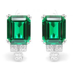6ct Created Nano Russian Emerald Clip On Earrings Genuine 925 Sterling Silver