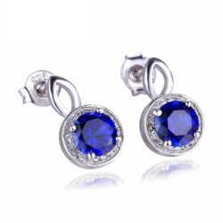 Round Cut 4.8ct Created Blue Sapphire Halo Drop Earrings Solid 925 Sterling Silver