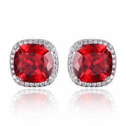 Cushion 6.7ct Created Princess Red Ruby Halo Stud Earrings 925 Sterling Silver