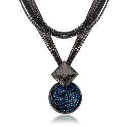Long Chain Gun Plating Navy Blue Crystal Rhinestone Mineral Sweater Necklace & Pendant