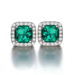 Cushion 2.1ct Created Nano Russian Emerald Halo Stud Earrings Solid 925 Sterling Silver
