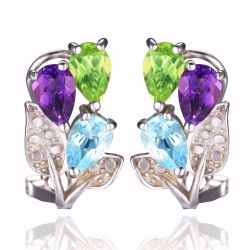 Multicolor 2.5ct Genuine Amethyst Peridot Blue Topaz Clip On Earrings 925 Sterling Silver