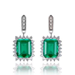 9.5ct Emerald Long Earrings Solid 925 Sterling Silver Earrings