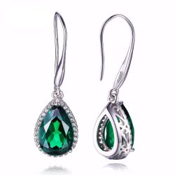 Pear 5.4ct Created Green Nano Russian Emerald Dangle Earrings Solid 925 Sterling Silver
