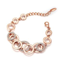 Rose Gold Plated Circles Rhinestones Paved Round Bracelets