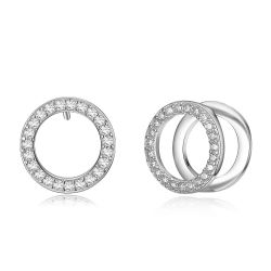 Rose Gold & Platinum Plated Double Circle Stud Earrings for Woman Rhinestone Paved Round Earrings