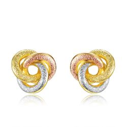 Gold & Silver & Rose Gold Plated Knot Stud Earrings for Woman Triple Color Small Earrings