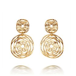 Gold Plated Double Hollow Out Circle Cross Dangle Earrings
