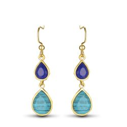 Gold Plated Copper Bohemian Dangle Earrings for Woman Double Drop Green Blue Turquoise Long Earrings