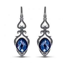 Vintage Blue Crystal Drop Earrings for Women Antique Silver Rhinestone