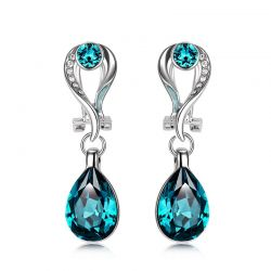 Platinum Plated Alloy Dangle Blue Earrings Austrian Rhinestone Crystal