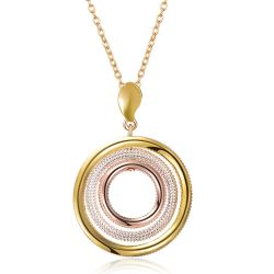 Multicolored Round Pendant Necklace Women Gold & Silver & Rose Gold Plated Triple Circle's