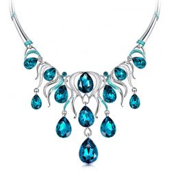 Platinum Plated Chain Necklace with Blue Crystal Rhinestone Woman