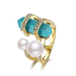 Double Simulated Pearls & Turquoise Gold Plated Rings For Women