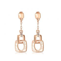 Rose Gold Plated Dangle Earrings Austrian Rhinestone Sea Shell Pieces