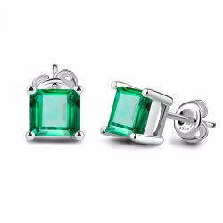 Square 0.6ct Created Created Russian Nano Emerald 925 Sterling Silver Stud Earrings