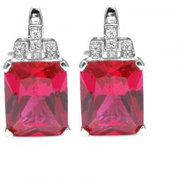 Luxury Emerald Cut 12.1ct Created Red Ruby Clip On Earrings 925 Sterling Silver