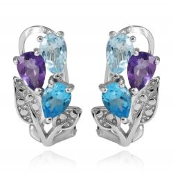 Multicolor 2.5ct Genuine Amethyst Swis Blue Topaz Clip On Earrings 925 Sterling Silver