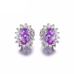 Oval 1.5ct Princess Diana Created Alexandrite Sapphire Stud Earrings 925 Sterling Silver
