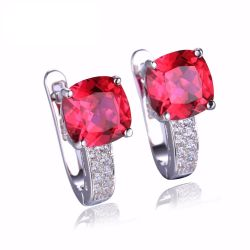 Cushion 4.6ct Created Red Ruby Clip On Earrings 925 Sterling Silver Jewelry