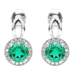 925 Solid Sterling Silver 1.5ct Nano Russian Emerald Top Quality Drop Earrings  For Women