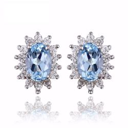 Natural Topaz Gemstone Earrings Stud Genuine 925 Sterling Silver Jewelry