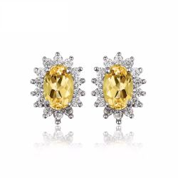 Kate Princess Diana 1.1ct Natural Citrine Stud Earrings 925 Sterling Silver