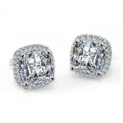Princess 5ct CZ Stud Earrings 925 Sterling Silver