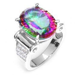 Huge 11ct Genuine Rainbow Fire Mystic Topaz Rings Solid 925 Sterling Silver