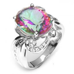 11ct Genuine Rainbow Fire Mystic Gem Stone Topaz Ring Pure Solid 925 Sterling Silver