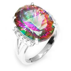 13ct Rainbow Fire Mystic Topaz Gem Ring Genuine Solid 925 Sterling Silver