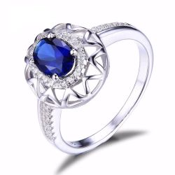 1.2ct Created Blue Sapphire Ring 925 Sterling Silver Fine Jewelry for Women